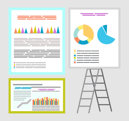 Infographics and infocharts, whiteboard charts vector. Board with information and explanation, data in visual representation, visualization diagrams