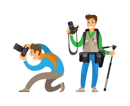 Photographers making picture with cameras and equipment for photo or tripod. Man carrying backpack, guy taking bottom angle vector illustrations.