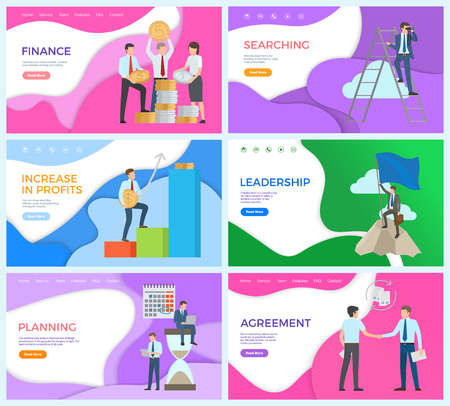 Leadership man on top of mountain with briefcase vector. Agreement with partner on contract, making profits, finance achievement, steps in planning