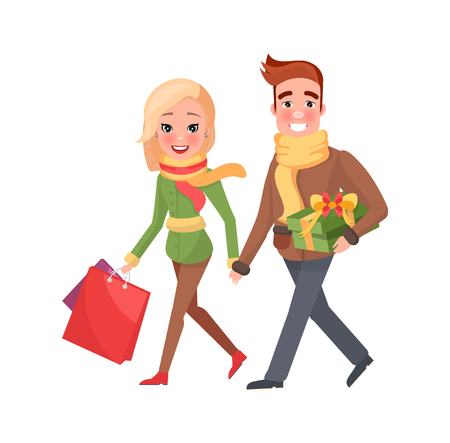 Attractive female and handsome male with presents and bags. Christmas holidays celebration, cartoon people. Man and woman do shopping together, vector
