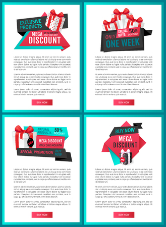 Super offer, best choice 50 percent off reduced price web page templates vector. Boxes with bow, gift exclusive products, only one day sale of shops Illusztráció