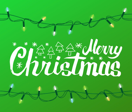 Merry Christmas greeting text with spruce or fir New year trees icons, winter snowflakes isolated on green background with garland light bulbs, color sparkles