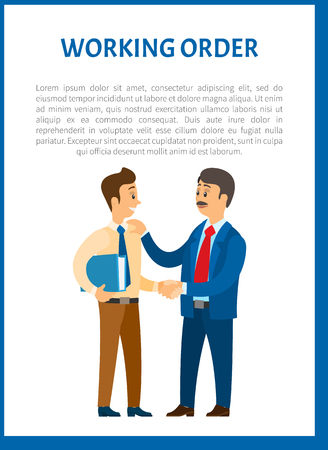 Working order, boss giving instructions to employee, conversation between colleagues. Leader encouraging coworker, praising for good job, vector poster