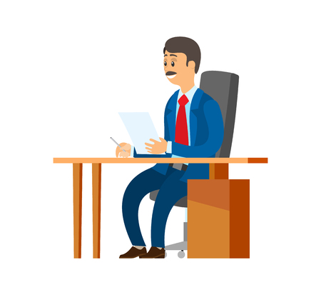 Boss chief executive holding papers in hands vector. Experienced worker with documentation and pages with information. Survey and docs of director