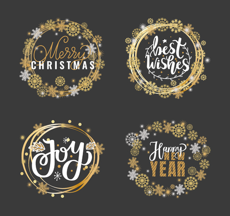 Merry Christmas and Happy New Year, Joys and best wishes holidays greeting cards, lettering font, doodles in wreath of snowflakes, celebration postcards