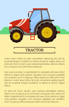 Agricultural machinery icon cartoon vector banner. Middle tractor with glass cabin, isolated on landscape, new technique, farming equipment poster Illustration