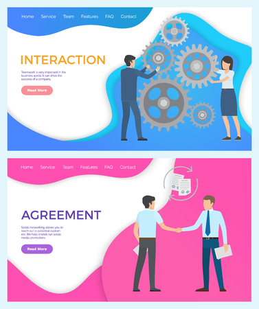 Interaction, team building, drive to success of company. Man and woman cooperating together. Agreement, social networking allows to reach potential customers.