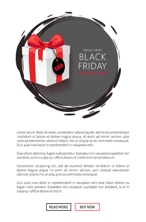 Wholesale on Black Friday, web page template with push buttons. Wrapped gift box with price tag, November total night sale advertisement vector Illustration