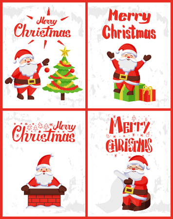 Merry Christmas, Saint Nicholas checking wish list, decorating Xmas tree, sitting on wrapped gifts, looking from chimney pipe, vector. Santa Claus adventures