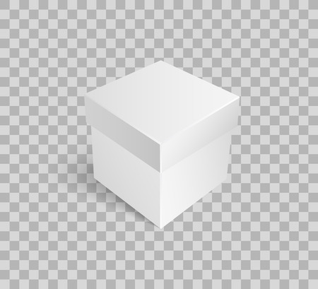 Closed parcel for packaging presents, empty gift icon vector. Square package box mockup, package 3D isometric. Cargo for shipping goods on transparent