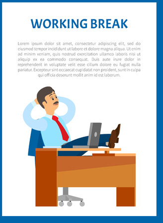 Working break, boss resting in office, put legs on table. Leader with mustaches in relaxed pose. Chief worker dreaming at workplace, poster with text sample Ilustração