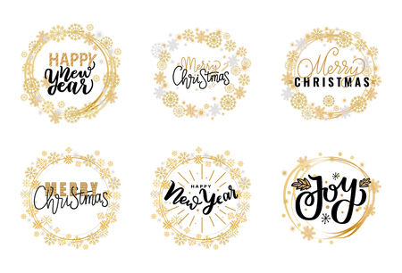 Merry Christmas festive greetings, calligraphic winter season wishes. Holly Jolly quote, New Year, Happy Holidays and warm wishes, cookies for Santa lettering on white background