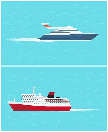 Wassertransport Kreuzfahrtschiff und Yacht, Seereise durch komfortable Transportmittel Vektor. Fahrzeuge, mit denen Menschen reisen und ans Ziel kommen