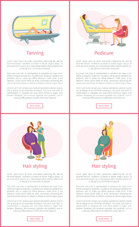 Tanning tan in solarium, gaining different skin color. Pedicurist with client woman hair styling. Making hairstyle, set of posters with text vector