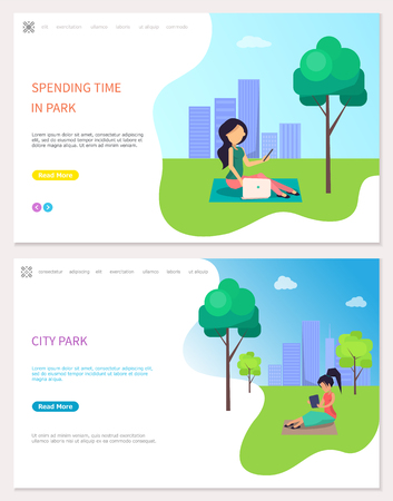 Spending Time in park, freelancer at work outdoors vector. Lady with laptop and notebooks, searching for business ideas. Working women, distant job