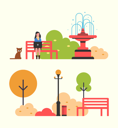 Woman freelance worker sitting on wooden bench in autumn park vector. Dog strolling animal by lady, fountain and lantern. Trees and bushes with leaves