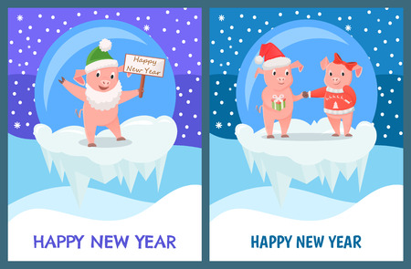 Happy New Year greeting cards with pigs boy and girl giving presents to each other. Piglet with sign board in snowy ball, cliff of ice vector, snowflakes