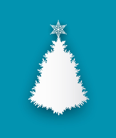 Spruce tree topped by star, vector illustration isolated on blue. White bushy fir, decorated by toy at top, Christmas and New Year symbolic paper cat icon