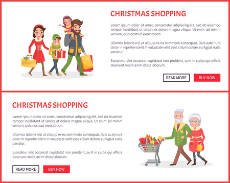 Christmas shopping poster, family mother, father small daughter and son. senior couple grandmother and grandfather at shop together, bags full of presents