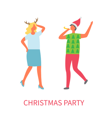 Christmas party, two business managers dancing at corporate fest celebrating New Year and Xmas holiday. Vector cartoon style man and woman isolated