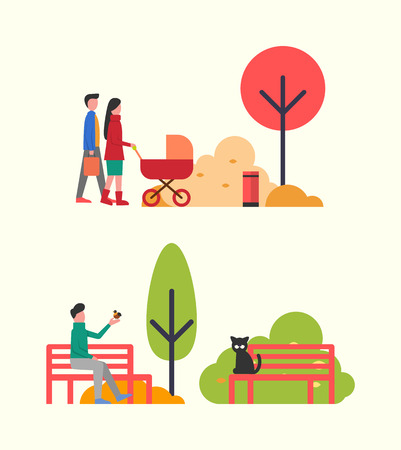 People Relaxing in Autumn Park, Family with Pram Illustration