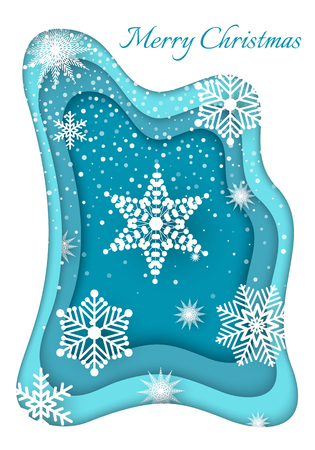 Merry Christmas Paper Cut White Snowflake Vector Illustration