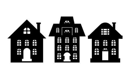 Houses Monochrome Silhouette Multi Storey Building Stok Fotoğraf - 113721395