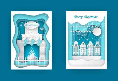 Merry Christmas in homely atmosphere near fireplace with decorated, snowflake and stars. Residential buildings and moon with dark night vector illustration