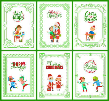 Best wishes happy New Year Merry Christmas postcards set vector. Santa Claus with kid on laps, children skating, girl making handicraft handmade gifts