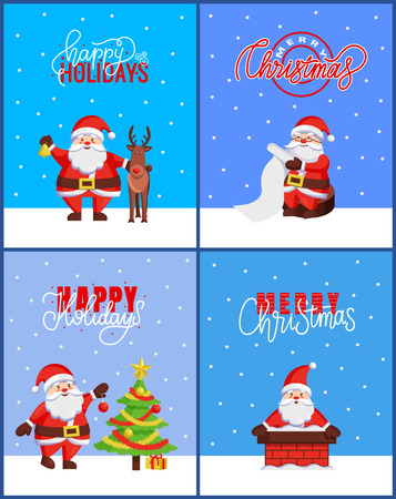 Happy Holidays and Merry Christmas 2019 posters with Santa Claus adventures. Reindeer helper and wishlist, chimney pipe and New Year tree decoration