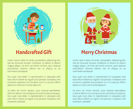 Handcrafted gift and merry Christmas cartoon characters. Santa Claus and Snow maiden with bag full of gifts, girl making handmade postcards, vector text Ilustração
