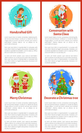 Conversation with Santa Claus merry Christmas vector. Boy making wish sitting on lap, girl with handicraft gifts postcards with snowman and pine tree