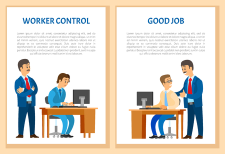 Worker control, praise for good job. Boss company leader supervising new office worker vector. Director pleased with work of employee, encouraging him