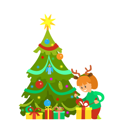 Christmas holiday New Years eve, girl decorated pine tree vector. Gift with bow wrapped in decoration paper. Happy kid sitting by fir with star on top Illustration