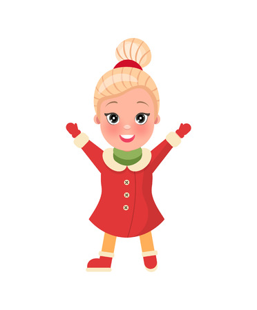 Christmas shopping. Little happy and smiling girl standing with hands raised up. Red dress with mittens and shoes, blonde hair and dark eyes vector Иллюстрация