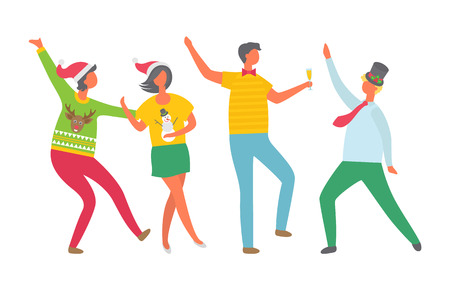 Christmas party people, New Years Eve celebration vector. Man and woman dancing and drinking alcohol, champagne poured in glass. Tipsy happy crowd