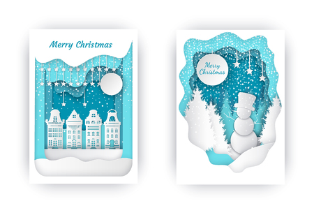 Merry Christmas Nature and Town Holiday Vector