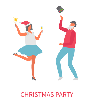 Dancing people at Christmas party, vector cartoon characters isolated. Woman with sparkler and man in high hat and in Santa Claus beard, New Year celebration