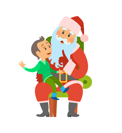 Christmas winter holidays, Santa Claus and kid sitting on his laps vector. Boy child making wish to Saint Nicholas. Elderly person with long beard