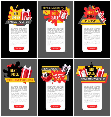 Premium quality and fantastic offer exclusive banners vector. Web of shops with discounts and price reductions. Basket with presents and gifts boxes Ilustración de vector