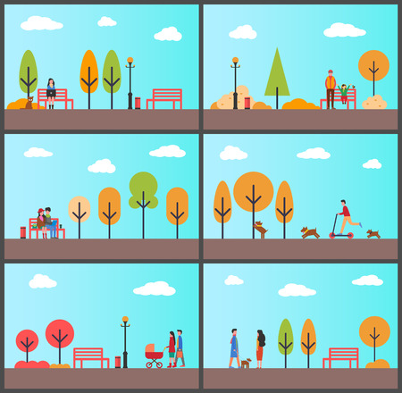 People Strolling in Autumn Park with Sunny Weather Illustration