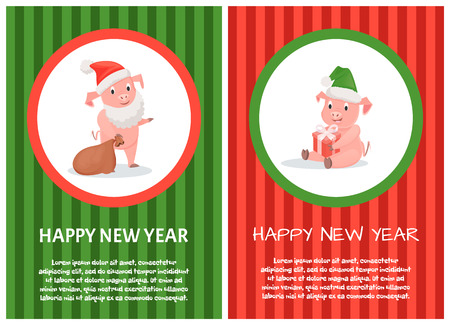 Greeting Happy New Year of symbol 2019. Smiling Pigs sitting in celebration hat with present. Standing piggy in santa hat and beard holding gift box vector Ilustração