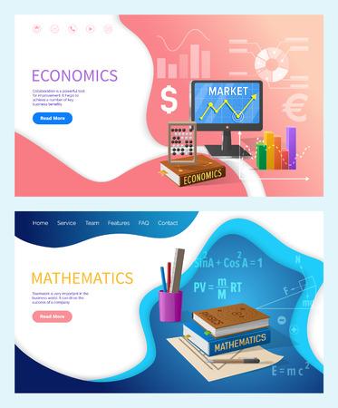 Mathematics, algebra and geometry subjects in school vector. Economics university college discipline with finance calculation precision. Charts info