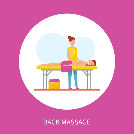 Back medical massage session vector poster in circle. Masseuse in uniform massaging spine of patient lying on table covered by towel, whole body relaxation Illustration
