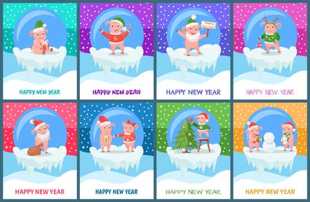 Happy New Year, Pigs Chinese Zodiac Symbol Set Illustration