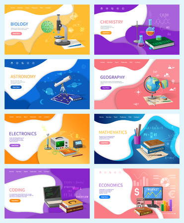 Mathematics and chemistry, electronics and geography vector. Biology and economics, coding programming lessons in school. Disciplines astronomy set