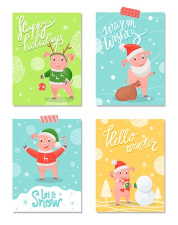 Happy Holidays New Year Symbol Christmas Piglet Illustration