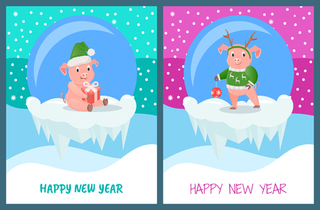 Happy New Year, Glass Baubles with Piglets Set Stock Vector - 113901811