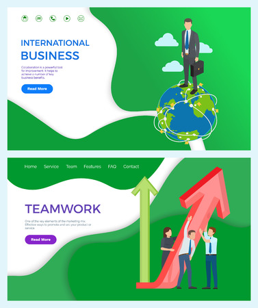 International business partnership and developed network vector. Businessman walking on globe with briefcase, teamwork with rising arrowheads results Vetores