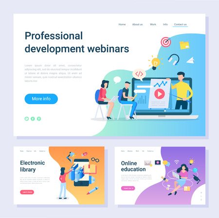 Development webinar, electronic library, online education web pages. Internet learning, programming and information digital source vector illustration 일러스트